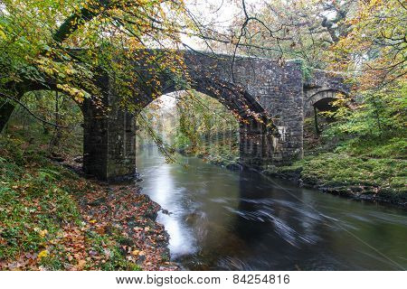 Holne Bridge, Medieval Stone Crossing, River Dart, Dartmoor, England.