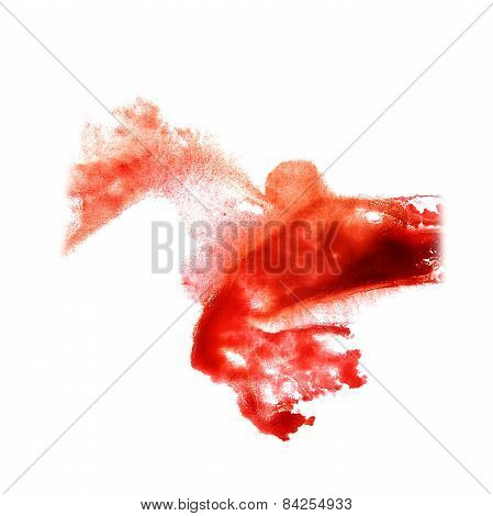 stain with watercolour red paint stroke watercolor isolated