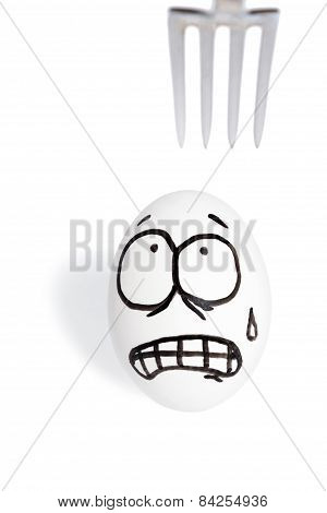 Egg With Smiley Scared Fork