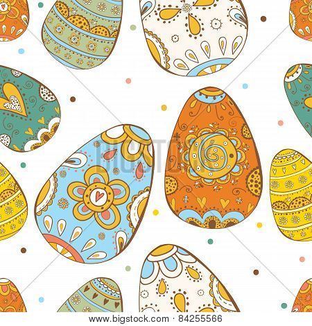 Happy Easter. Vector seamless pattern.Bright happy easter card in vector. Easter eggs.