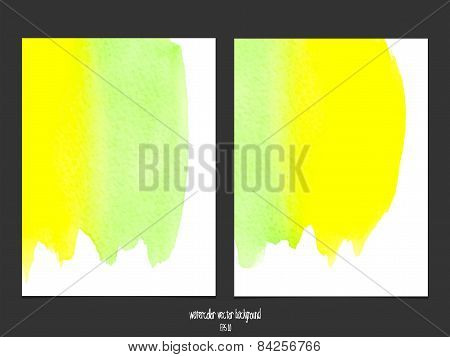 Vector background with watercolor green and yellow.
