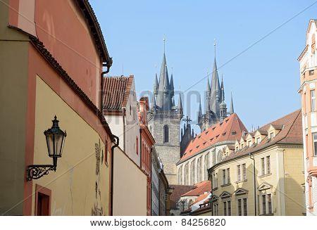 Stupartska Street Toward Tyn Church In Prague, Czech Republic.