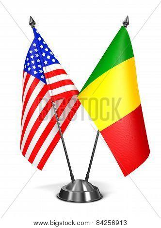 USA and Mali - Miniature Flags.
