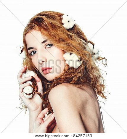 Beautiful Girl With Cotton Plant