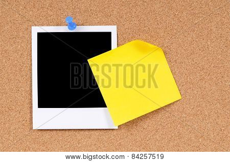 Blank Photo Print With Yellow Sticky Note