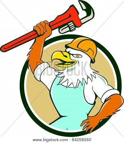 American Bald Eagle Plumber Wrench Circle Cartoon