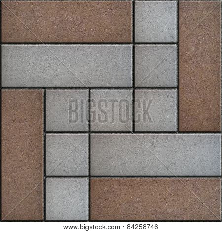 Brown -Gray Pavement Consisting of Rectangles and Squares.