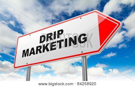 Drip Marketing on Red Road Sign.
