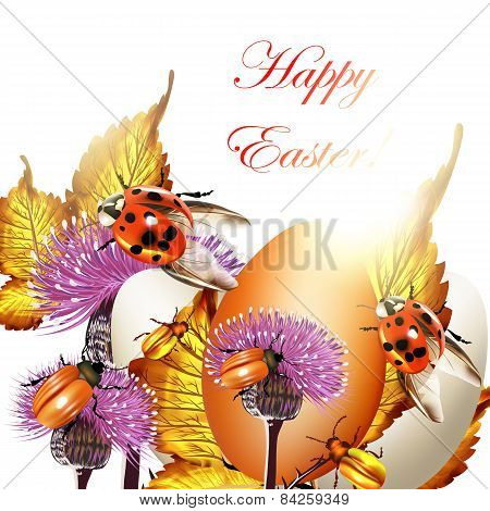 Easter Greeting Background With Eggs And Ladybirds