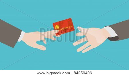 Transfer of the red credit card from hand to hand