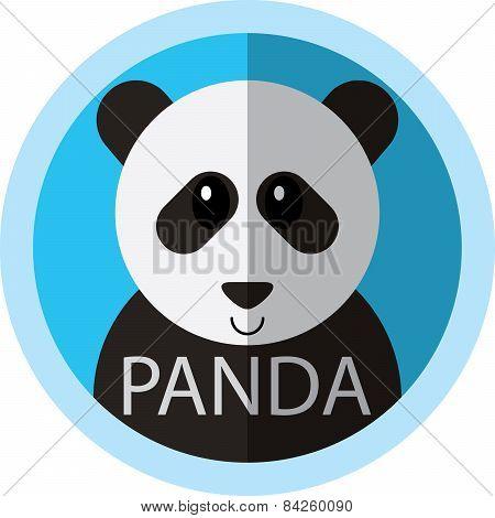 Cute Panda Bear Cartoon Flat Icon Avatar Round Circle