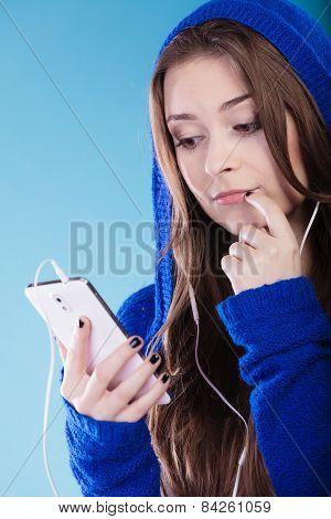 Teen Girl With Smartphone Listening Music