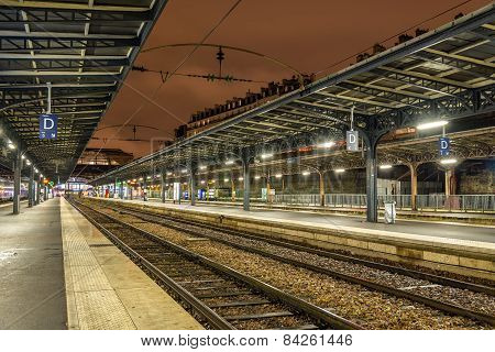 Platforms Of The Paris-est Station At Night - France