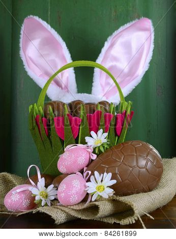 Happy Easter Still Life Against Green Wood Background
