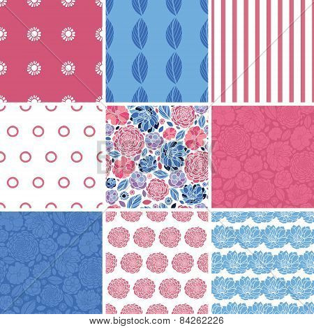 Vector mosaic flowers set of nine matching colorful repeat patterns backgrounds