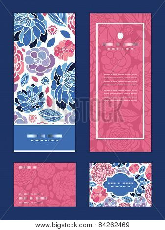 Vector mosaic flowers vertical frame pattern invitation greeting, RSVP and thank you cards set
