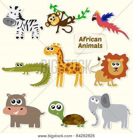Set Of Jungle Animals. Cute Cartoon African Animals