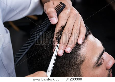 Haircut in beauty salon