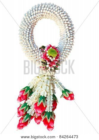 Beautiful Of Asian And Thai Culture Hand Craft To Decorated Jusmins And Roses Flowers Petal For Reli