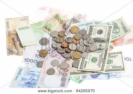 Several Kind Of Bank Notes And Coin