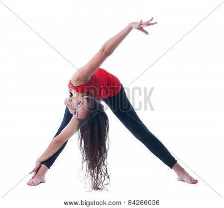 Happy flexible woman doing workout at camera