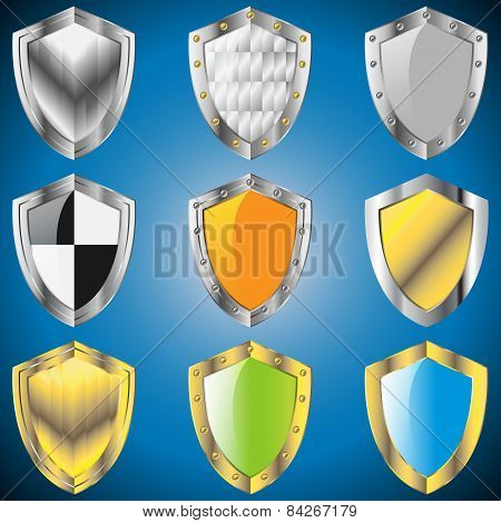 A Set Of Metallic Shields