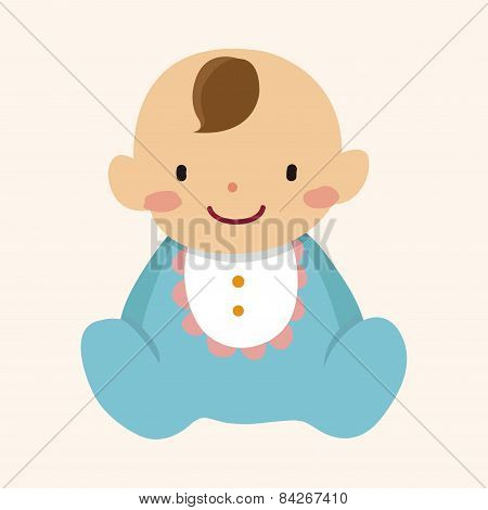 Family Baby Character Flat Icon Elements Background,eps10