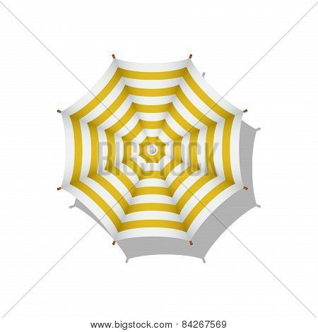 Orange and white striped beach umbrella
