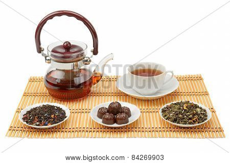 Tea, Teapot And Cup Isolated On White Background