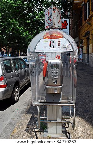 Phone Cabine In Rome City On May 31, 2014