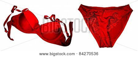 A Red Bra And Panties Close-up On The White Background.