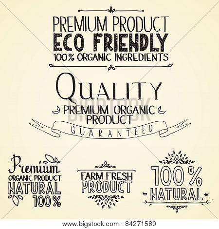 Premium quality organic health food headings natural product nature-themed badges and labels with gr