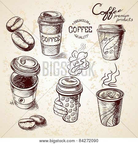 hand drawn doodle sketch vintage paper cup of coffee takeaway Menu for restaurant, cafe, bar, coffee