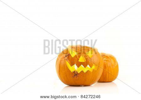 Glowing pumpkin, autumn background
