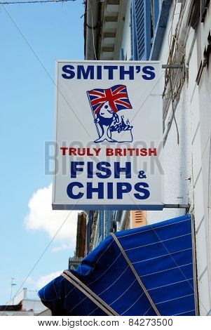Fish and chips sign, Gibraltar.