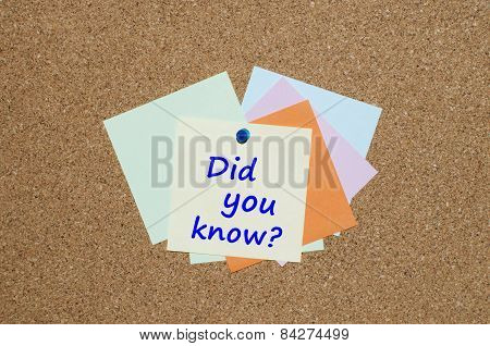 Did you know message on a note