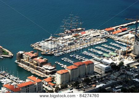 Elevated view of marina, Gibraltar.