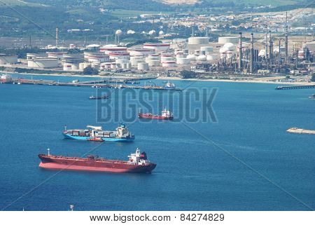 Merchant ships in Bay, Gibraltar.