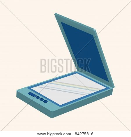 Computer Theme Scanner Elements Vector