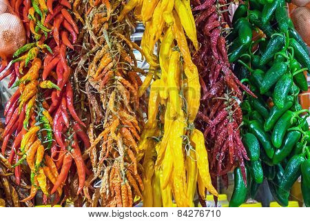 Colorful chili at the Boqueria