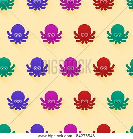 Seamless pattern with octopuses
