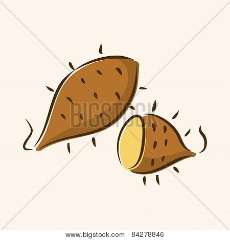 Vegetable Sweet Potatoes Flat Icon Elements,eps10