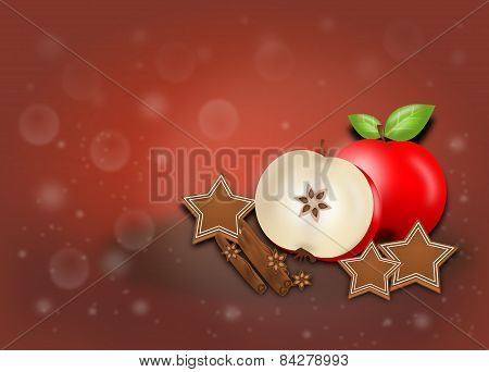 Background With Cinnamon, Apples And Gingerbreads