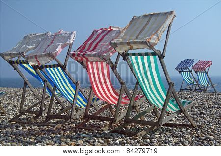 Deck chairs in the sun