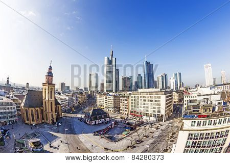 Hauptwache Pplaza And Modern Skyscarpes In Frankfurt Am Main, Germany.