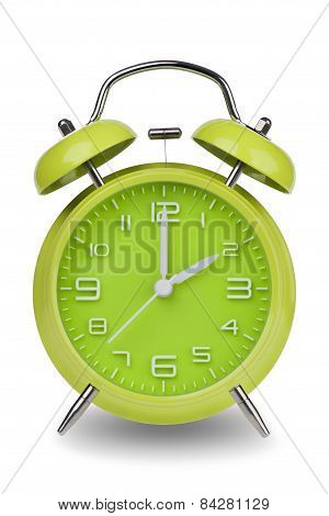 Green Alarm Clock With Hands At 2 Am Or Pm