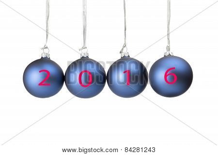 Four blue christmas baubles symbolizing new year 2016