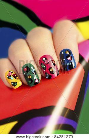 Colorful manicure .