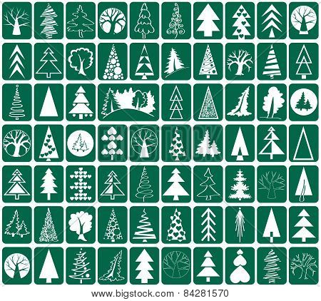 Coniferous And Deciduous Trees Icons