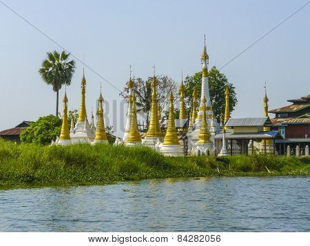 Beautiful Pagodas At Temple In Inle Lake